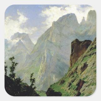 Montañas en Europa 1876 Calcomanías Cuadradases