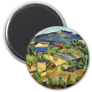 Montañas en la Provence francesa de Paul Cézanne Imán Redondo 5 Cm