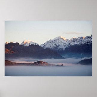 Montañas en la salida del sol, Western Cape del Póster