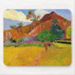 """Montañas en Tahití"" - Paul Gauguin Mousepad Alfombrilla De Ratón"