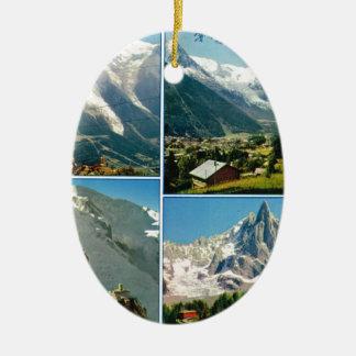 Montañas francesas del vintage, Chamonix Mt Blanc Adorno Ovalado De Cerámica