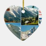 Montañas francesas del vintage, Chamonix Mt Blanc Ornamento Para Arbol De Navidad
