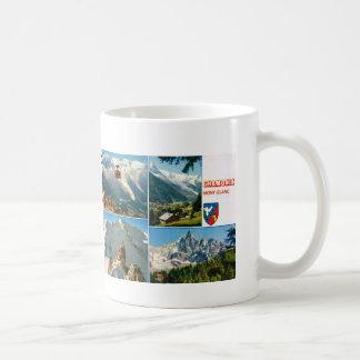 Montañas francesas del vintage, Chamonix Mt Blanc Taza Clásica