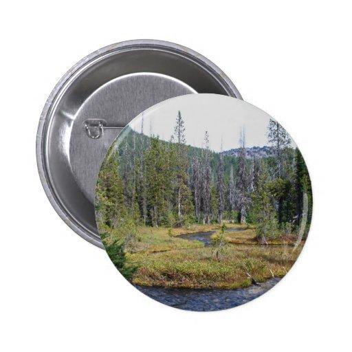 Montañas hermosas de la cascada de Oregons Pin Redondo 5 Cm
