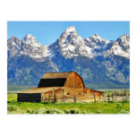 Montañas magníficas de Tetons de los graneros Tarjetas Postales