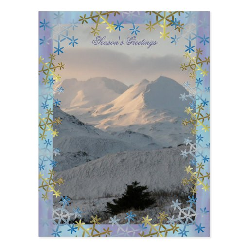 Montañas Nevado en los saludos de la estación de l Postales