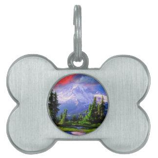 montañas nevosas placa mascota