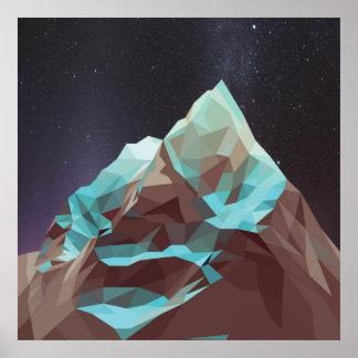Montañas no 2.jpg de la noche póster