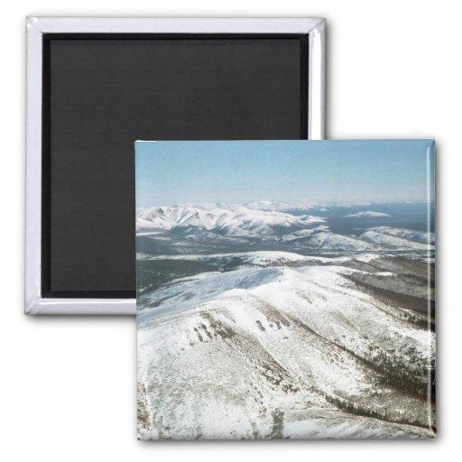 Montañas nubladas imán para frigorifico