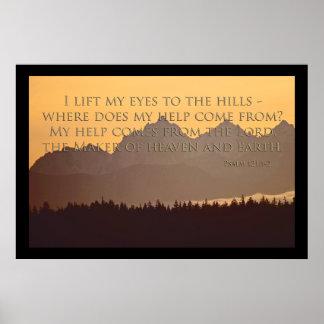 montañas olímpicas con el 121:1 del salmo - poster