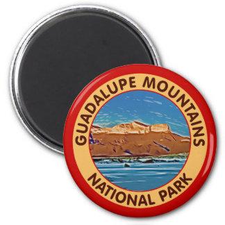 Montañas parque nacional, Tejas de Guadalupe Imán Redondo 5 Cm