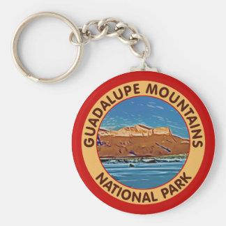 Montañas parque nacional, Tejas de Guadalupe Llavero Redondo Tipo Pin