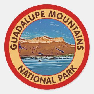 Montañas parque nacional, Tejas de Guadalupe Pegatina Redonda