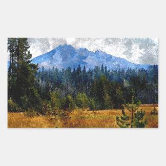 Montañas prado, Oregon de la cascada Pegatina Rectangular