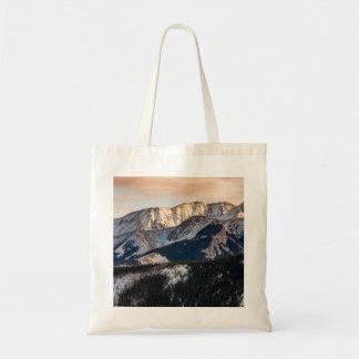Montañas púrpuras de la puesta del sol bolsa de mano