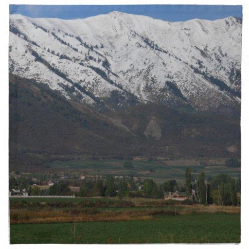Montañas que pasan por alto Wellsville Servilleta
