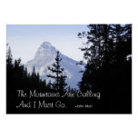 Montañas rocosas canadienses con cita famosa poster