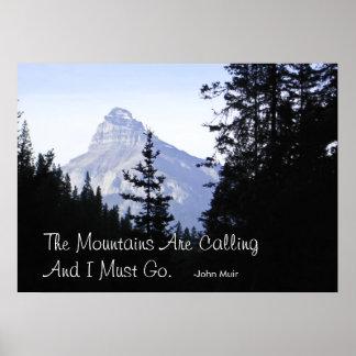 Montañas rocosas canadienses con cita famosa póster
