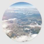 Montañas rocosas desde arriba etiqueta redonda