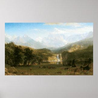 Montañas rocosas, el pico del Lander de Albert Póster