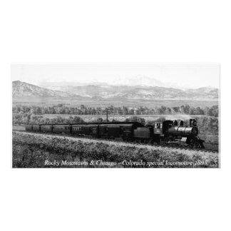 Montañas rocosas, locomotora de Colorado del Tarjeta Fotografica Personalizada