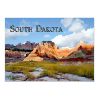 """Montañas y Badlands NP Dakota del Sur del cielo Invitación 5"""" X 7"""""""