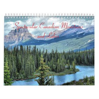 Montañas y calendario canadienses espectaculares d