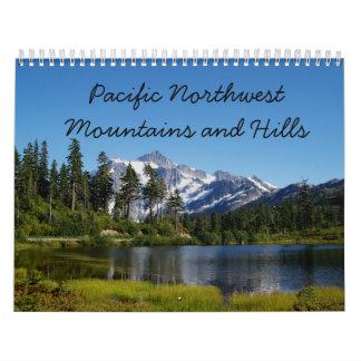 Montañas y colinas del noroeste pacíficas calendarios de pared