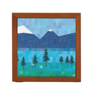 Montañas y lago capsulados nieve portalápices