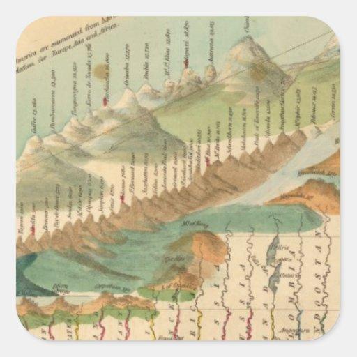 Montañas y mapa de los ríos pegatina cuadrada