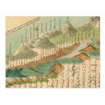 Montañas y mapa de los ríos postal