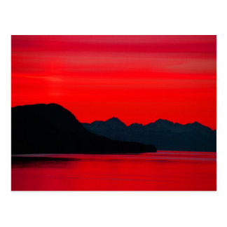 Montañas y mar - puesta del sol y alpineglow, postal