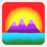 Montañas y pegatina de la puesta del sol