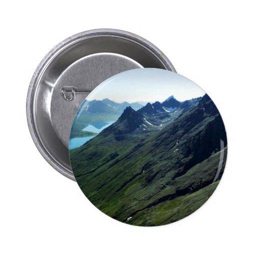 Montañas y valle glacial pin redondo 5 cm