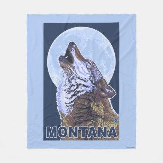 MontanaWolf que grita Manta De Forro Polar