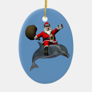Montar a caballo alegre de Papá Noel en delfín Adorno Navideño Ovalado De Cerámica