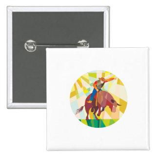 Montar a caballo de Bull del vaquero del rodeo que Pin Cuadrada 5 Cm