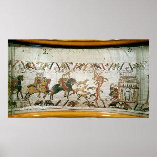 Montar a caballo de Harold del conde con sus cabal Posters