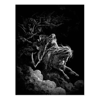Montar a caballo de la muerte a través de una post tarjetas postales