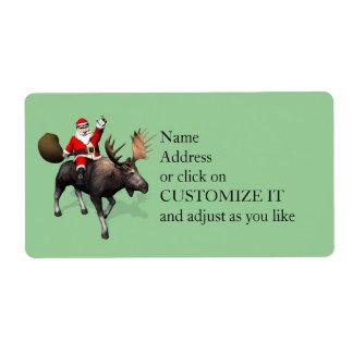 Montar a caballo de Papá Noel en alces Etiqueta De Envío