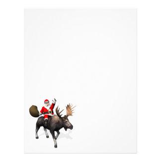 Montar a caballo de Papá Noel en alces Membretes Personalizados