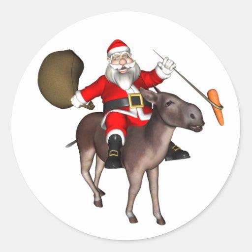 Montar a caballo de Papá Noel en burro Pegatina Redonda