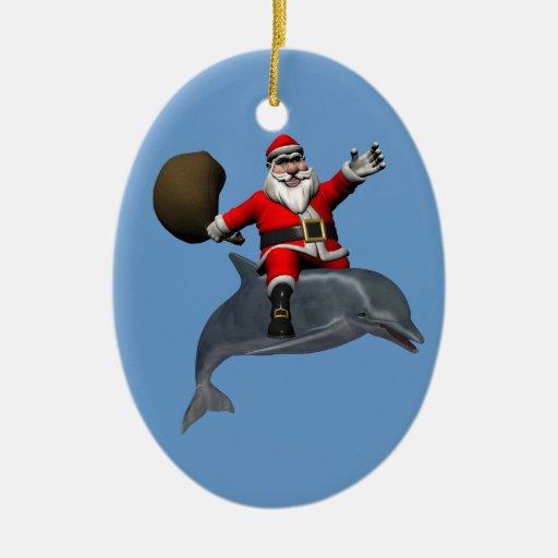 Montar a caballo de Papá Noel en delfín Ornamentos De Reyes