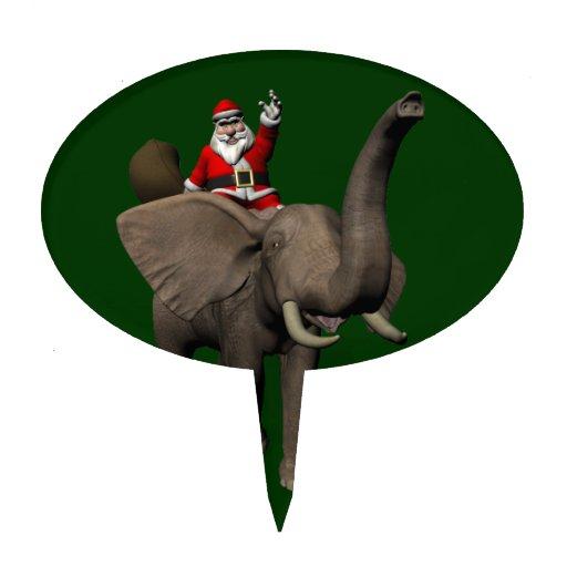Montar a caballo de Papá Noel en elefante Figura De Tarta
