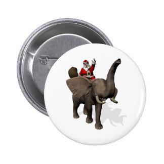 Montar a caballo de Papá Noel en elefante Pin Redondo 5 Cm