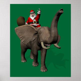 Montar a caballo de Papá Noel en elefante Póster