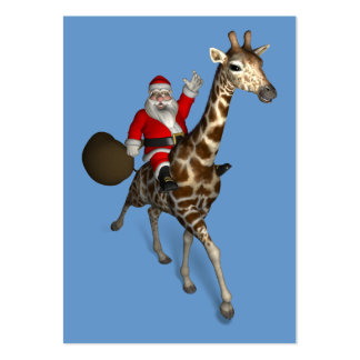 Montar a caballo de Papá Noel en jirafa Tarjetas De Visita