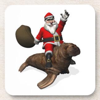Montar a caballo de Papá Noel en morsa Posavasos De Bebidas