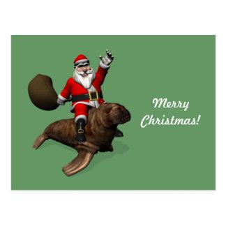 Montar a caballo de Papá Noel en morsa Postal