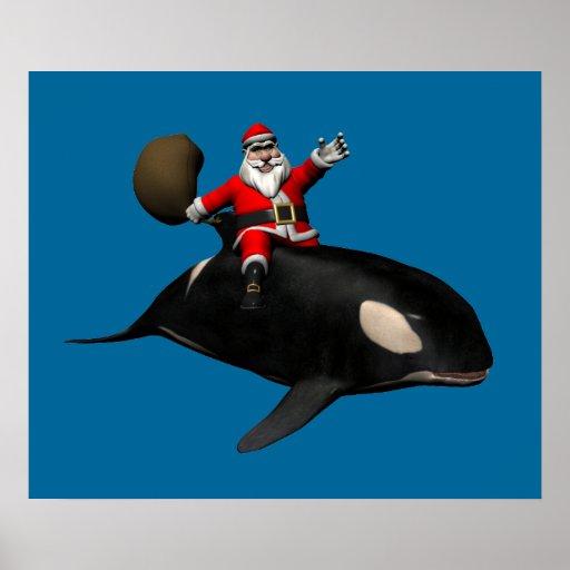 Montar a caballo de Papá Noel en orca Póster